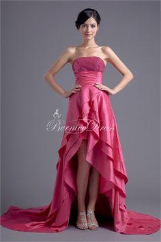 Tiered Taffeta Strapless Sleeveless A-Line Formal Evening Dress