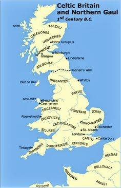 Map of Celtic Britain and Northern Gaul - 1st Century B.C.