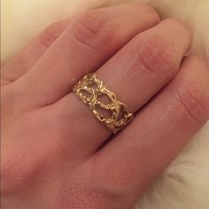 10k estate vintage yellow gold ring Estate vintage 10k yellow gold ring with beautiful cut out pattern and solid on back. Some surface scratches but other than that excellent condition. I'm not sure of the approximate size but I believe it is a size 7. Can include copy of receipt upon request. PRICE IS FIRM Vintage Jewelry Rings