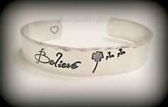 Hand Stamped Jewelry Aluminum Cuff Bracelet - Dandelion - Believe