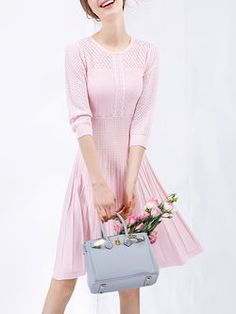 Pink Cotton-blend Casual A-line Shirred Midi Dress