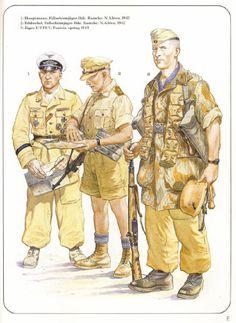 DAK - 1 Hauptmann, Fallshirmjaeger, Brigata Ramke, Libia, 1942 - 2 Feldwebel, Fallshirmjaeger, Brigata Ramke, Libia, 1942 - 3 Jaeger, JR/JF 5, Tunisia 1943