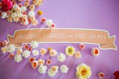 Dessert Table // Colorful Glitter Unicorn Wedding: Janet + Jon - Part 2 Butterfly Garden Party, Unicorn Wedding, Wedding Trends, Wedding Blog, Wedding Ideas, Floral Backdrop, Floral Wedding, Green Wedding, Magical Wedding