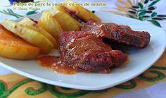 Pulpa de porc la cuptor in sos de mustar Steak, Cooking Recipes, Succulents, Pork, Chef Recipes, Steaks, Recipies, Recipes