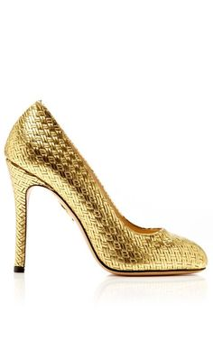 Jenny Woven Leather Pump by Charlotte Olympia Now Available on Moda Operandi