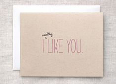 I Like You Card - Recycled Brown Eco Friendly Anniversary Card, Cute Valentine Card. $4.00, via Etsy.