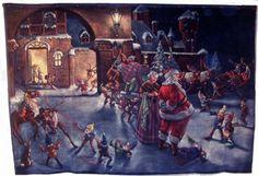 George Hinke art   755: Lg Painting on Velvet Santa Attrib George Hinke : Lot 755