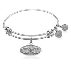 Expandable Bangle in White Tone Brass with Infinity Unlimited Symbol