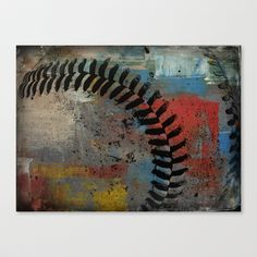 Painted Baseball Stretched Canvas by Christy Leigh - $85.00