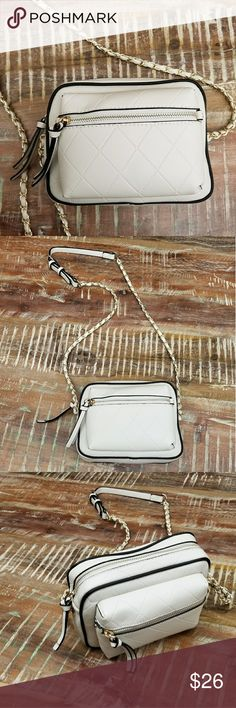 """Zara Basics Collection Ivory Emboss Crossbody Quilted Emboss Pattern on PU Gold Hardware Black Finish Trim for Contrast Look Buckle Detail on Strap Small Front Pocket   7.5 x 6""""   🌻Brand New🌻 Zara Bags Crossbody Bags"""