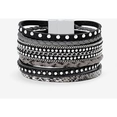 White House Black Market Leather Multi-Row Bracelet (€47) ❤ liked on Polyvore featuring jewelry, bracelets, accessories, hand crafted jewelry, magnetic jewelry, handcrafted jewelry, magnet jewelry and stacked bangles