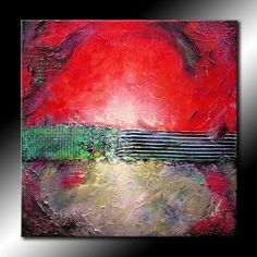 TEXTURED Original Abstract Painting 30x30 Canvas Modern Acrylic Red, Green, Gray Fine Art by Maria Farias