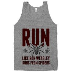 Run Like Ron Weasley Runs From Spiders, Harry Potter Workout Shirt, Geek Fitness, Athletic Grey American Apparel Tank Top on Etsy, $21.00