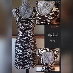 """$$$$SALE$$$$ Michael Kors Sheath Dress Sz 8 Gorgeous Michael Kors dress in brown/cream print.  Size 6. Scoop neckline.  Cutout back with lower full gold engraved zipper.  Excellent condition.  Freshly dry cleaned and ready for you!  Total length 37"""".  Fully lined.  98%cotton 2%spandex. Michael Kors Dresses"""