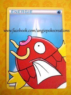 Peinture Pokemon Magicarpe sur carte énergie Eau :)