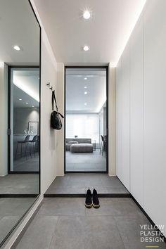 Apartment Entrance, House Entrance, Entrance Foyer, Exterior Design, Interior And Exterior, Living Room Designs, Living Spaces, Modern Bathroom Design, Downlights