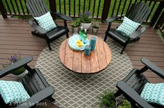 "Make an outdoor patio table. She put her DIY wood top on a galvanized bucket, but I could use it as a removable top to our firepit when it's not in use. 1/4"" plywood base cut in a circle with attached 2 x 6 boards with Liquid Nails, stain wood and add a coat of polyurethane"