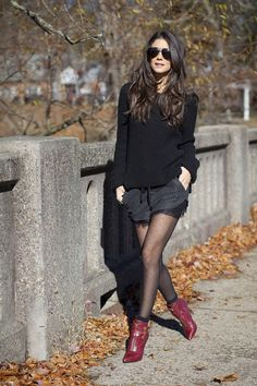 Fall is the best time to pair shorts with tights and boots.