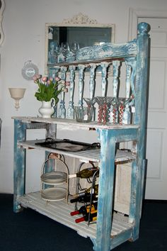 This is another popular piece I have been making. It is modeled after a potting bench, but most customers are using it as a dry bar. It is made from 100% reclaimed material. Different pieces of furniture and barnwood. Special orders are now being accepted!