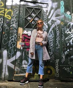Ganni's Space cowboy t-shirt, £70, and £225 Naomi leather sneakers