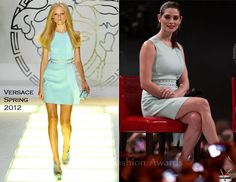 Ashley Greene In Aqua-Blue Dress of Versace Spring 2012 Collection.