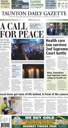 The front page of the Taunton Daily Gazette for Friday, June 26, 2015.