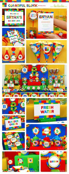 Colorful Blocks Birthday Party Package Collection Set by LeeLaaLoo, $29.00: