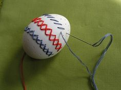 Embroidered Easter eggs! One more thing to do with dyed eggs.