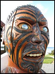 The protector Spirit of dead souls (Carving), Rotorua, Maori cemetery, NZ,