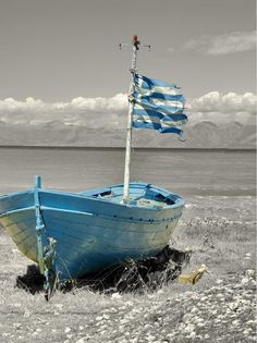 Blue boat, Corfu, Greece by Berg Lund