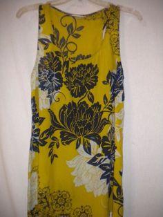 CAbi Medium Silk Blend Yellow (Gold) Navy White Bali Floral 286 Women Tank Top #CAbi #TankCami #Versatile