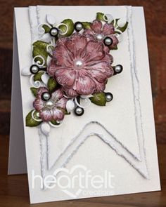 Create banner shapes with square dies by Veritycards - Cards and Paper Crafts at Splitcoaststampers Flower Cards, Paper Flowers, Make Your Own Banner, Banner Shapes, Heartfelt Creations Cards, Shabby, Marianne Design, Homemade Cards, Making Ideas
