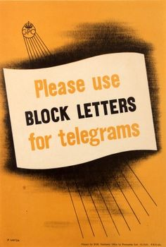 Block Letters For Telegrams GPO 1950s - original vintage Post Office poster by P Vinten listed on AntikBar.co.uk
