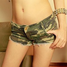 Stylish Sexy Slim Skinny Camouflage Printed Burrs Washed Low Waist Women Denim Mini