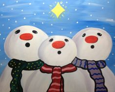 my painting...so proud...:)  Celebrate the sights and sounds with the season with these three adorable snowmen. The little guys would look great hanging next to your Christmas tree.