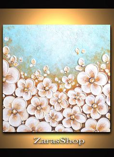 White cherry blossoms flowers blue landscape painting by ZarasShop