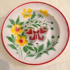 Decorative Antique Enamelware Dish with Stencil Butterfly & Foliage - Germany