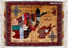 Orientteppich Seide Afghanistan Karte 109x82 cm wandteppich holzrahmen map N42