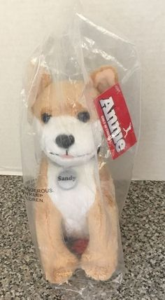 "Annie The Movie Annie's Dog Sandy Plush 10"" Stuffed Animal New In Bag NWT"