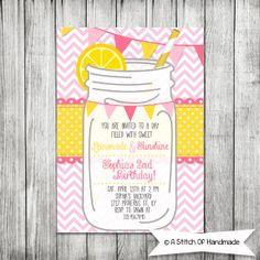 Pink LEMONADE Printable Invitation - Pink Lemonade Party Invite - 5x7 inches