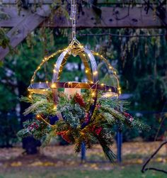 Christmas Lights Outdoor Trees, Outdoor Christmas Planters, Christmas Greenery, Christmas Lanterns, Coastal Christmas, Christmas Decorations, Tree Lanterns, Cottage Christmas, Holiday Lights