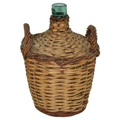 Check out this item at One Kings Lane! Green Wine Bottle w/ Wicker