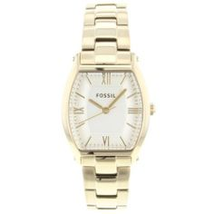 Fossil Women's ES3119 Stainless Steel Analog Gold Dial Watch Fossil. $75.08. Water-resistant to 50 M (165 feet). Stainless steel case. Case diameter: 28 mm. Scratch resistant mineral. Analog quartz movement. Save 28%!