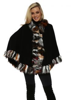 URBAN MIST Black Hooded Multi Coloured Faux Fur Swing Cape