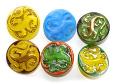 Button ~ Glass Moonglow Lizards  Medium by KPHoppe on Etsy