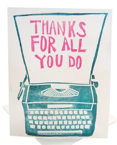 thanks for all you do // turquoise thank you card by foreignspell, wizard typewriter