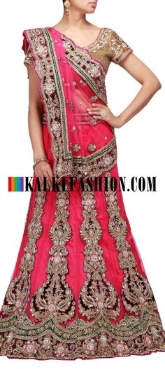 Buy Online from the link below. We ship worldwide (Free Shipping over US$100) http://www.kalkifashion.com/unstitched-lehenga-in-pink-net-with-embroidered-kali.html Unstitched lehenga in pink net with embroidered kali