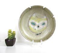 Mid Century Modern Pottery Cat Ashtray by HerVintageCrush on Etsy