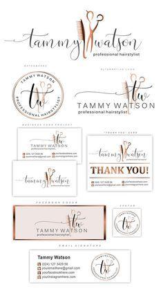 Hairdresser Logo design, Hair Salon branding, Scissors comb Logo package, gold rose logo, Fashion logo set, Custom package, Stylist Logo 146