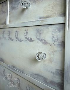 Girl in Pink used Artisan Enhancements Crackle Tex between Paloma and Old White Chalk Paint in certain areas of this vintage dresser to create texture and patina beyond typical distressing.